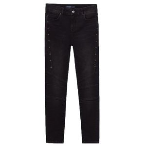 Zara Mid Rise Biker Trousers Jeans Black 27 4